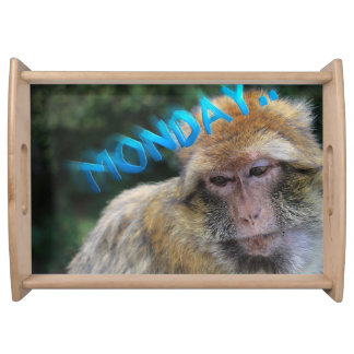 Monkey sad about monday serving tray