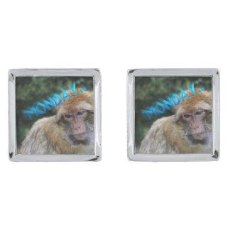 Monkey sad about monday silver finish cuff links