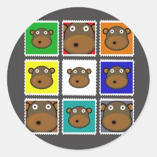 Monkey Stamp Grey Sticker