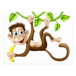 Monkey swinging with banana postcard