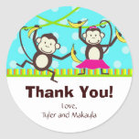Monkey Thank You Tags Round Stickers