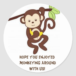 Monkey themed party sticker