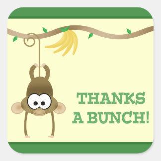 Monkey Vine (Green) Thank You Sticker Square Sticker