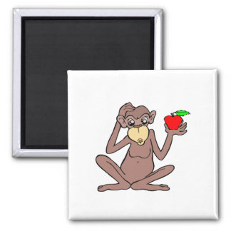 Monkey With Apple Fridge Magnet