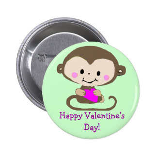Monkey with Heart - Happy Valentine s Day Pin