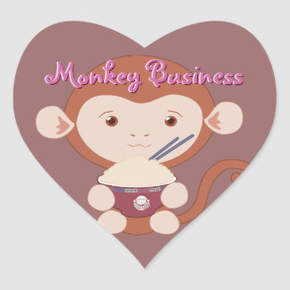 Monkey with Rice Bowl Heart Stickers