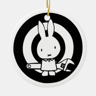 Monkey Wrench Rabbit Round Ceramic Decoration
