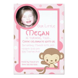 Monkey Zoo Photo Birthday Invitation-Girl Card