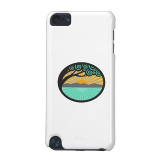 Monkeypod Tree Mountain Sea Sunrise Oval Retro iPod Touch 5G Covers