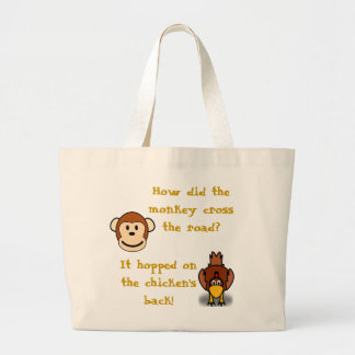 Monkeys and Chickens Jumbo Tote Bag