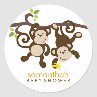 Monkeys and Polka Dots Classic Round Sticker