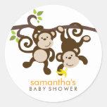Monkeys and Polka Dots Round Sticker