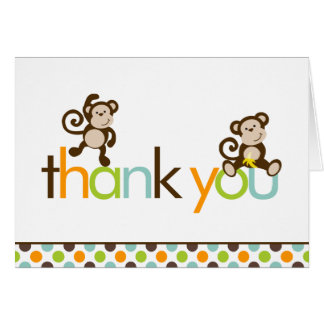 Monkeys and Polka Dots Thank You Notes