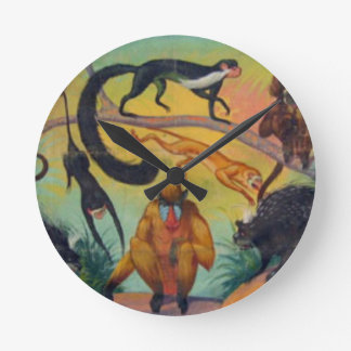 Monkeys and Porcupines Round Clock