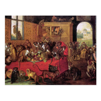 Monkey's Feast Vintage Animal Art by Van Kessel Postcard