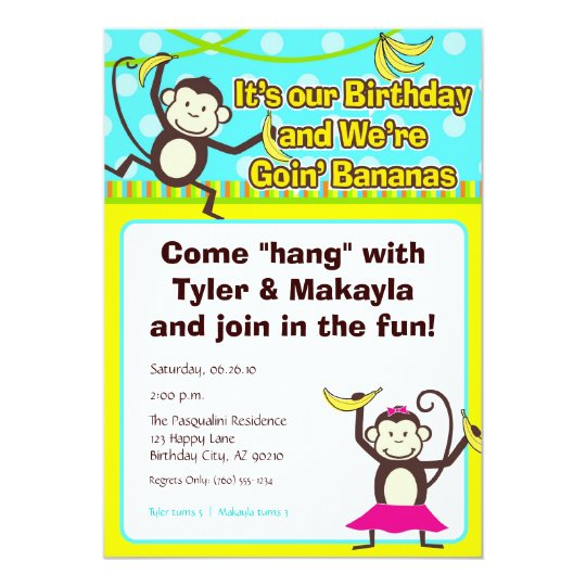 Monkeys Going Bananas Birthday Invitations