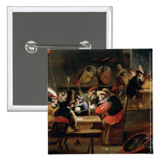 Monkeys in a Tavern, detail of the card game 15 Cm Square Badge