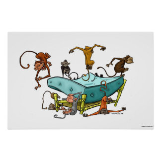 Monkeys Jumping on the Bed Poster