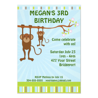 Monkeys Kids Birthday Party Card