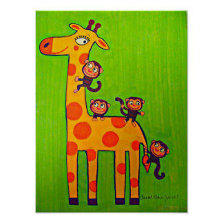 Monkeys Playing with Giraffe Poster