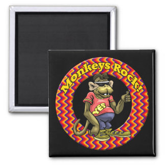 Monkeys Rock Funny T-shirts Gifts Square Magnet