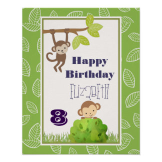 Monkeys Swinging From Trees Happy Birthday Poster