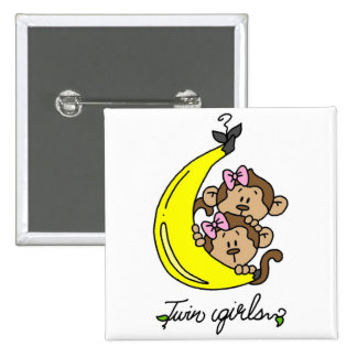 Monkeys Twin Girls T-shirts and Gifts Pins