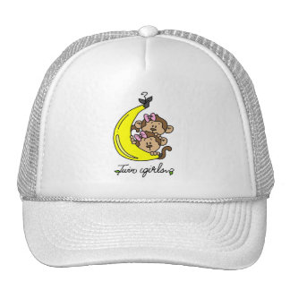 Monkeys Twin Girls T-shirts and Gifts Mesh Hats