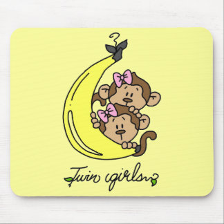 Monkeys Twin Girls T-shirts and Gifts Mouse Pad