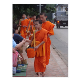 Monks Collecting Alms in Luang Prabang, Laos- 2 Postcard