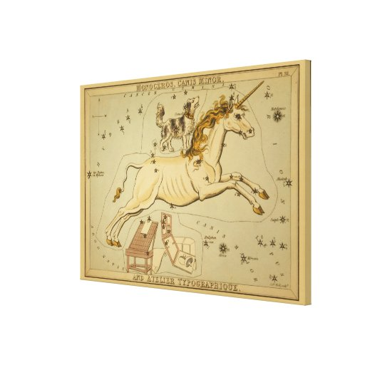 Monoceros - Vintage Astronomical Star Chart Image Gallery Wrapped Canvas
