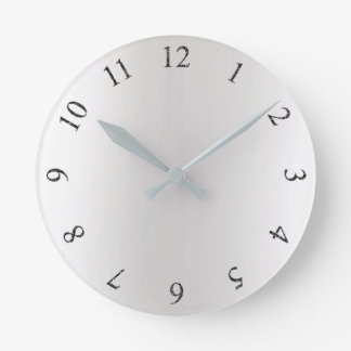 Monochrom Glitter Gray Silver Arabian Numbers Round Clock