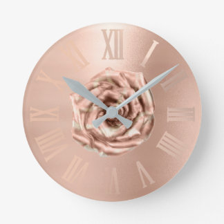 Monochrom Rose Gold Copper Metallic Roman Numers Round Clock