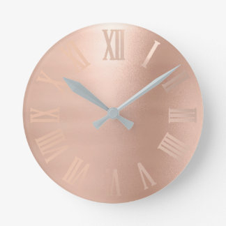 Monochrom Rose Gold Minimal Metallic Roman Numers Round Clock