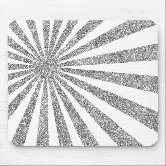 Monochrom White Silver Stripes Lines Ruys Glitter Mouse Pad