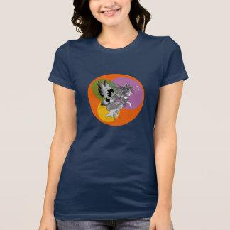 Monochromatic Elf Cartoon Girly Dark Blue Bold T-Shirt
