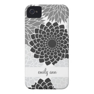 Monochromatic  Flowers Illustration Pattern iPhone 4 Case