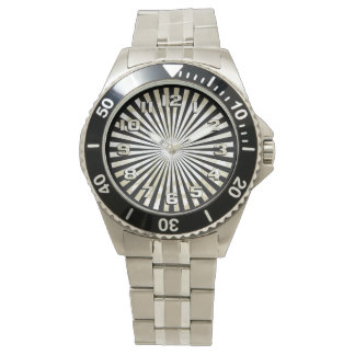 Monochromatic Geometric Circle Burst Watch