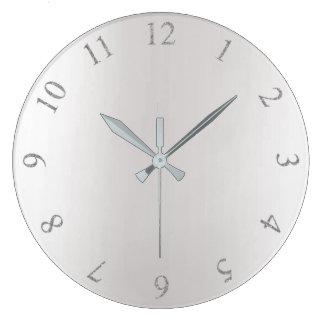 Monochromatic Glitter Gray Silver US UK Numbers Large Clock