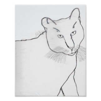 Monochromatic Irina The Cat Poster
