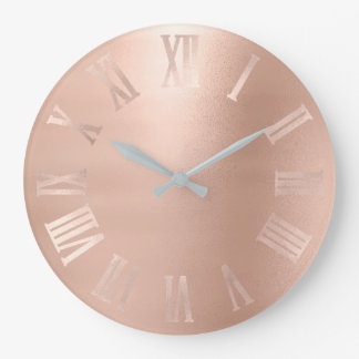 Monochromatic Pink Rose Gold Metallic Roman Numer Large Clock