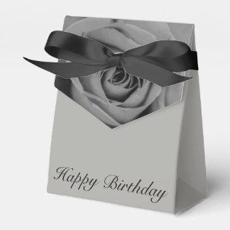 Monochromatic Rose Happy Birthday Tent Favor Box