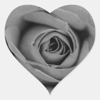 Monochromatic Rose Heart Shaped Sticker