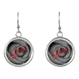 Monochromatic Rose Love Drop Earrings