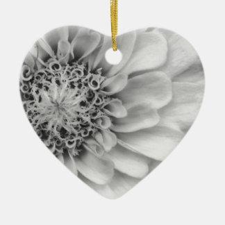 Monochromatic Zinnia Ceramic Heart Decoration