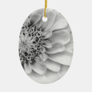Monochromatic Zinnia Ceramic Oval Decoration