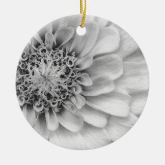 Monochromatic Zinnia Round Ceramic Decoration