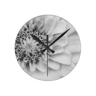 Monochromatic Zinnia Round Clock