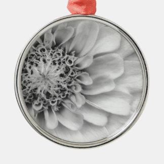 Monochromatic Zinnia Silver-Colored Round Decoration