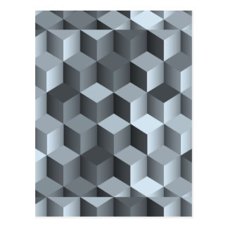 Monochrome 3D Cube Design Postcard